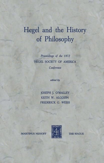 Abbildung von O'Malley / Algozin / Weiss | Hegel and the History of Philosophy | 1975