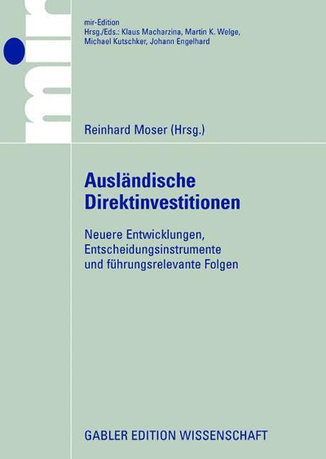 Ausländische Direktinvestitionen: | Moser, 2008 | Buch (Cover)