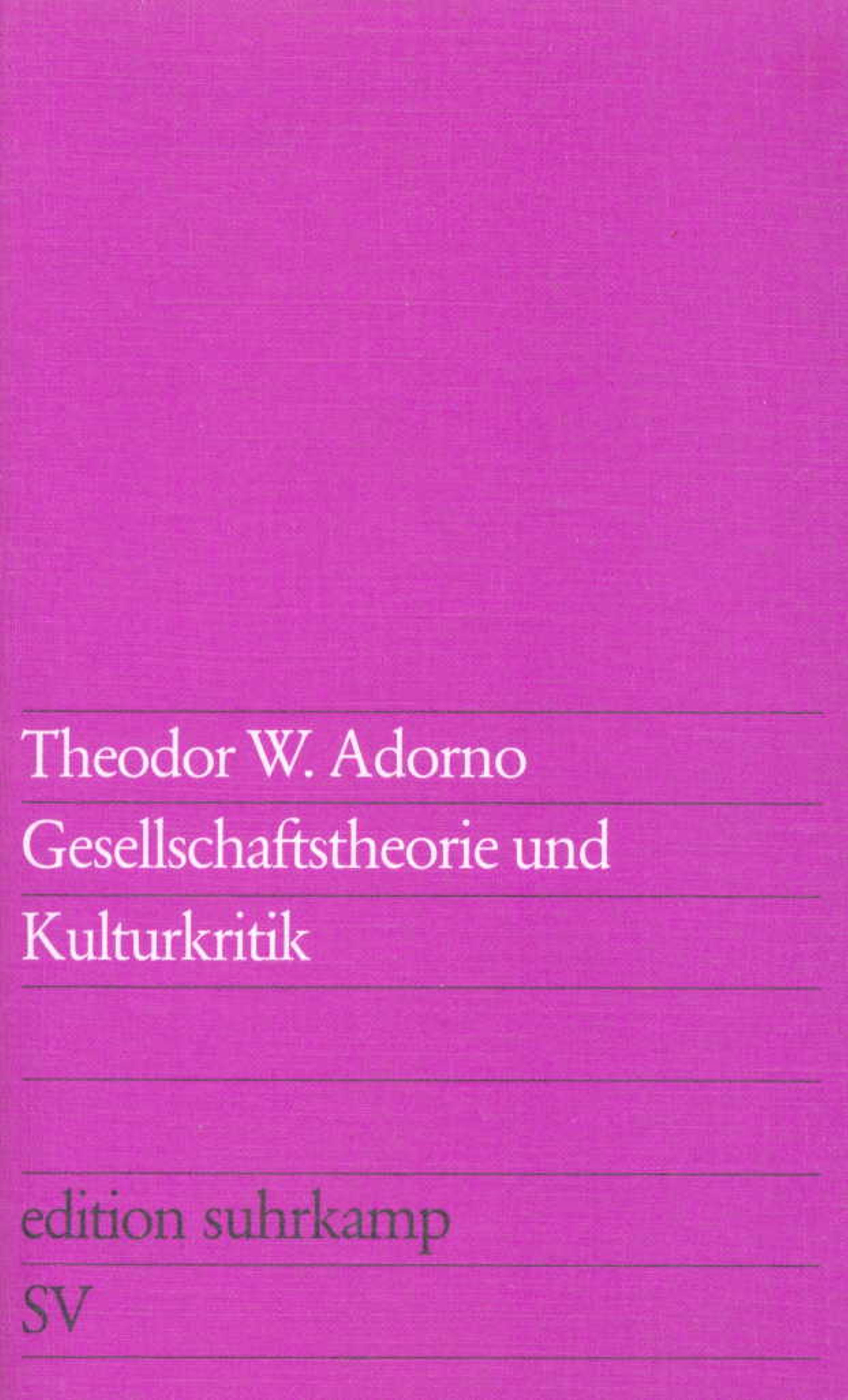 Abbildung von Adorno | Gesellschaftstheorie und Kulturkritik | 1975