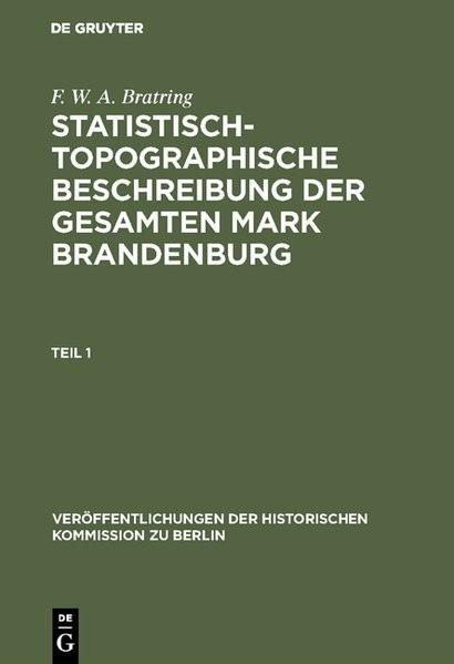 Statistisch-topographische Beschreibung der gesamten Mark Brandenburg | Bratring / Büsch / Heinrich | 2. krit. durchges. Neuausg. 1968, 1968 | Buch (Cover)