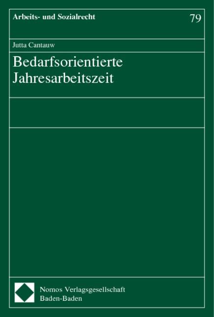 Bedarfsorientierte Jahresarbeitszeit | Cantauw, 2003 | Buch (Cover)