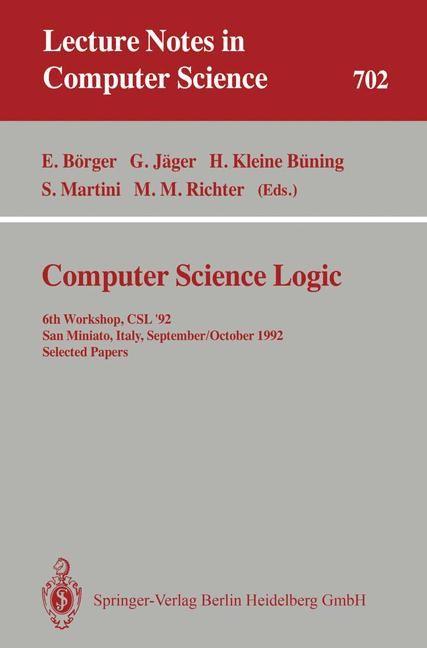Abbildung von Börger / Jäger / Kleine Büning / Martini / Richter | Computer Science Logic | 1993