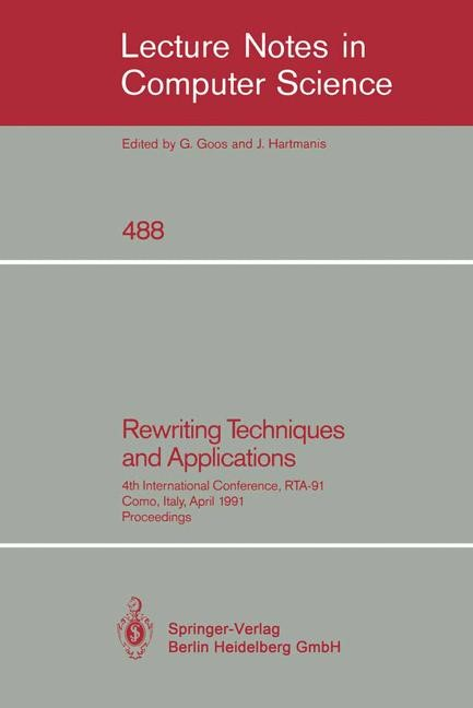 Rewriting Techniques and Applications | Book, 1991 | Buch (Cover)