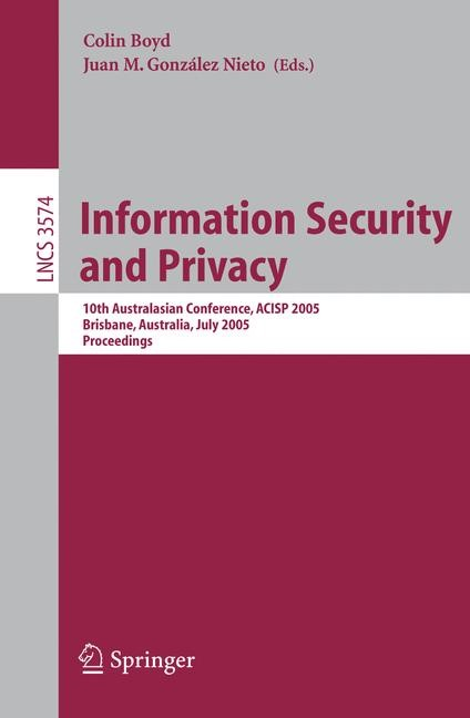 Information Security and Privacy | Boyd / González Nieto, 2005 | Buch (Cover)