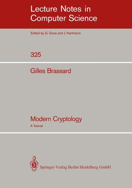Modern Cryptology | Brassard, 1989 | Buch (Cover)