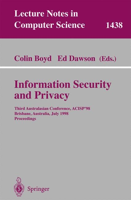 Information Security and Privacy | Boyd / Dawson, 1998 | Buch (Cover)