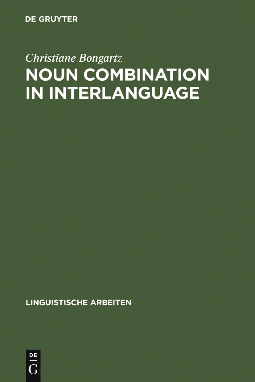 Noun Combination in Interlanguage   Bongartz, 2002   Buch (Cover)