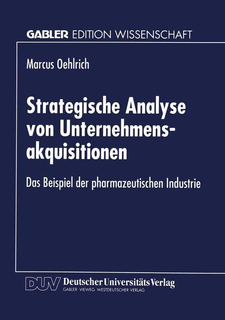 Strategische Analyse von Unternehmensakquisitionen | Oehlrich, 1999 | Buch (Cover)