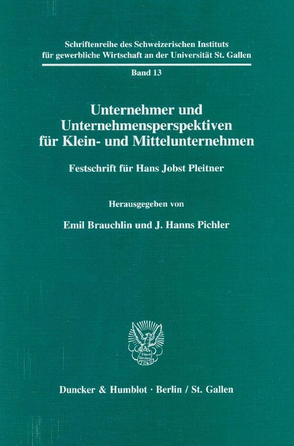 Unternehmer und Unternehmensperspektiven für Klein- und Mittelunternehmen. | Brauchlin / Pichler, 2000 | Buch (Cover)