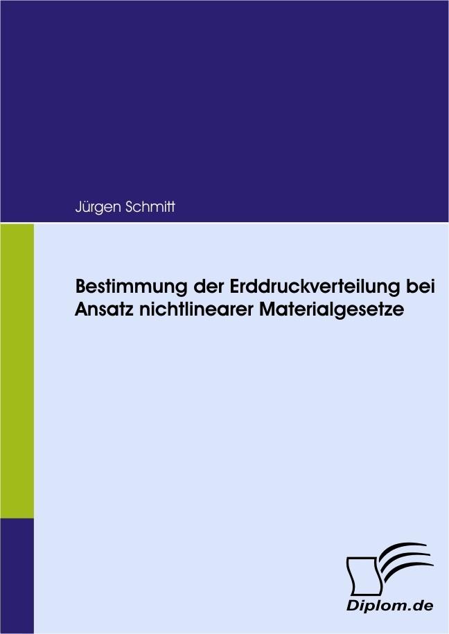 Bestimmung der Erddruckverteilung bei Ansatz nichtlinearer Materialgesetze   Jürgen, 2008   Buch (Cover)