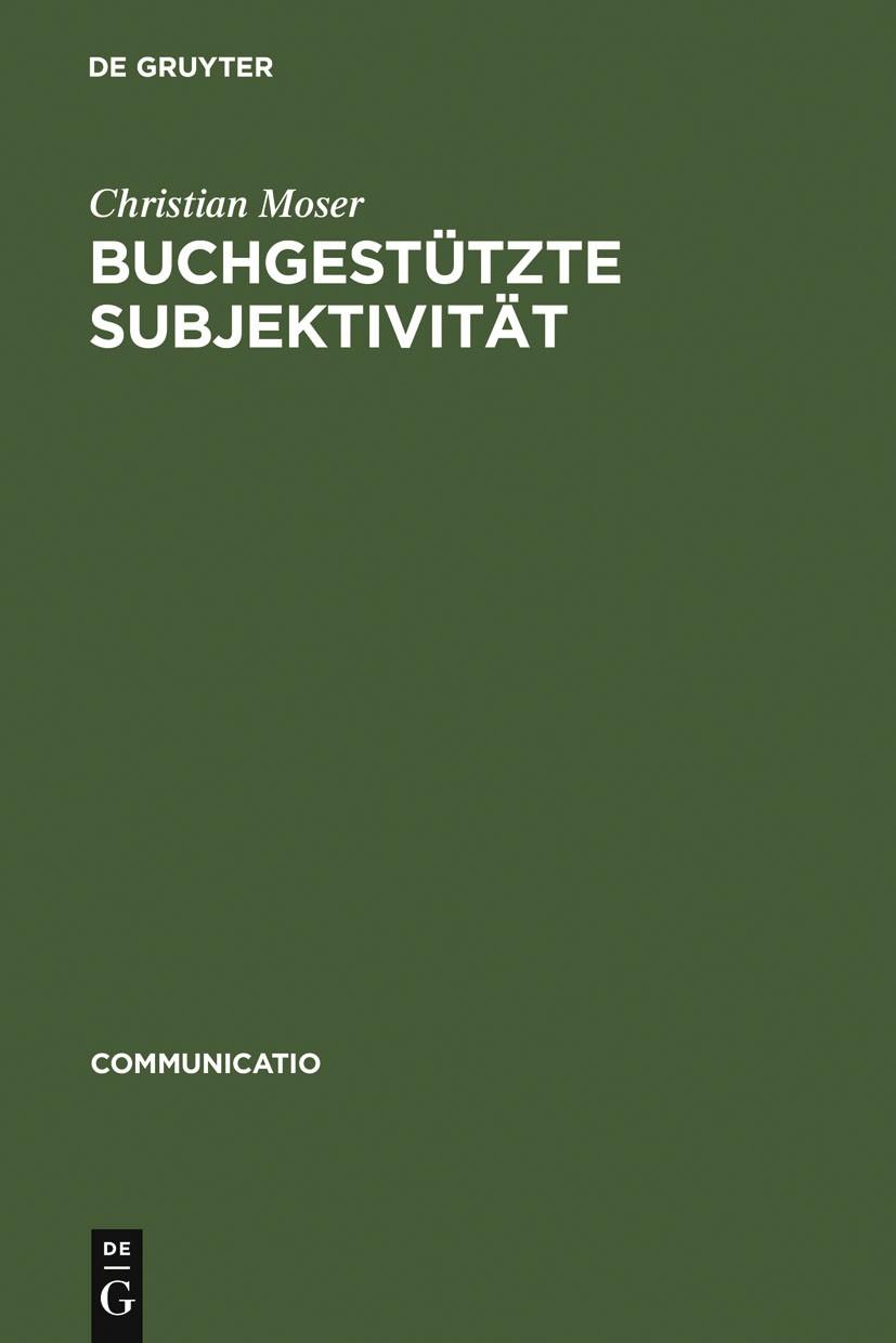 Buchgestützte Subjektivität | Moser | Reprint 2011, 2006 | Buch (Cover)
