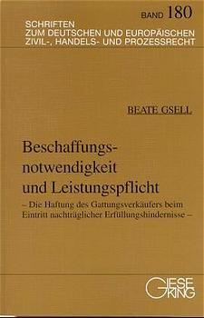 Beschaffungsnotwendigkeit und Leistungspflicht | Bosch / Gaul / Sandrock, 1998 | Buch (Cover)