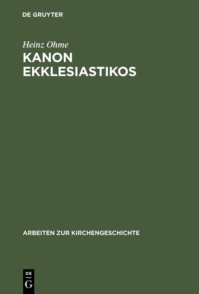 Kanon ekklesiastikos | Ohme | 1998, 1998 | Buch (Cover)