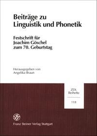 Abbildung von Braun | Beiträge zu Linguistik und Phonetik | 1. Auflage | 2001