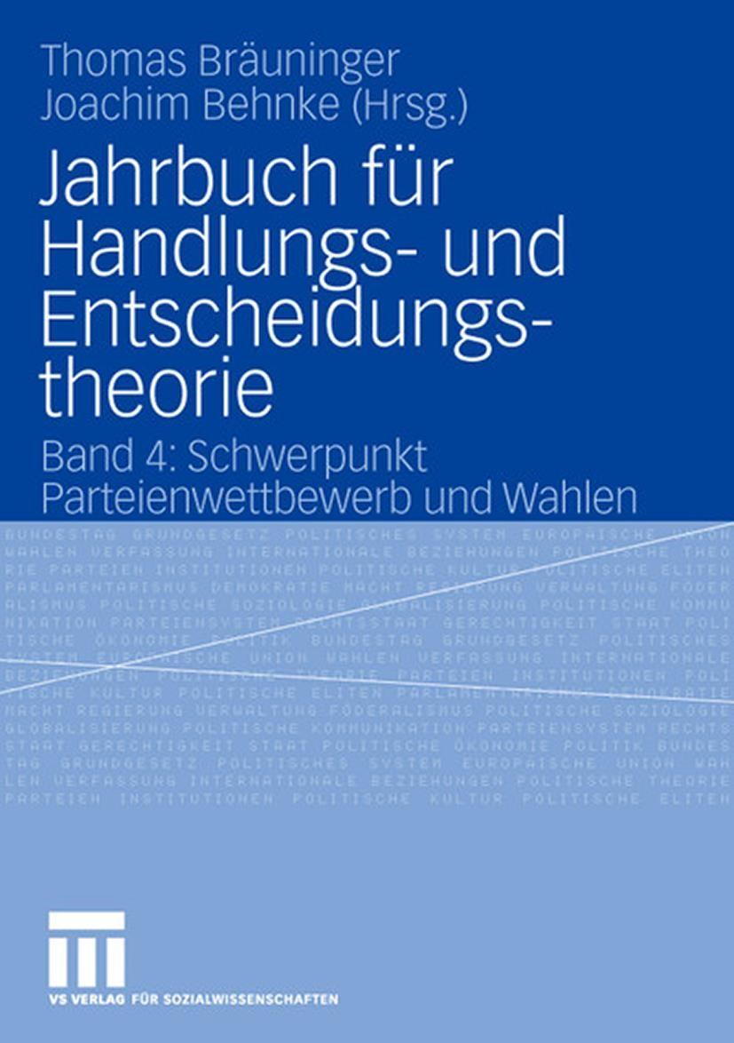 Jahrbuch für Handlungs- und Entscheidungstheorie | Bräuninger / Joachim, 2006 | Buch (Cover)
