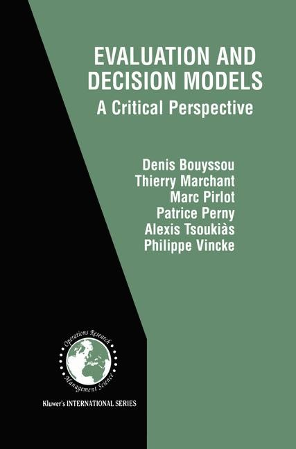 Evaluation and Decision Models | Bouyssou / Marchant / Pirlot, 2000 | Buch (Cover)