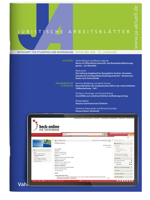 JA • Juristische Arbeitsblätter | 50. Jahrgang (Cover)
