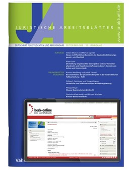 Abbildung von JA • Juristische Arbeitsblätter | 52. Jahrgang. | 2020 | Zeitschrift für Studenten und ...