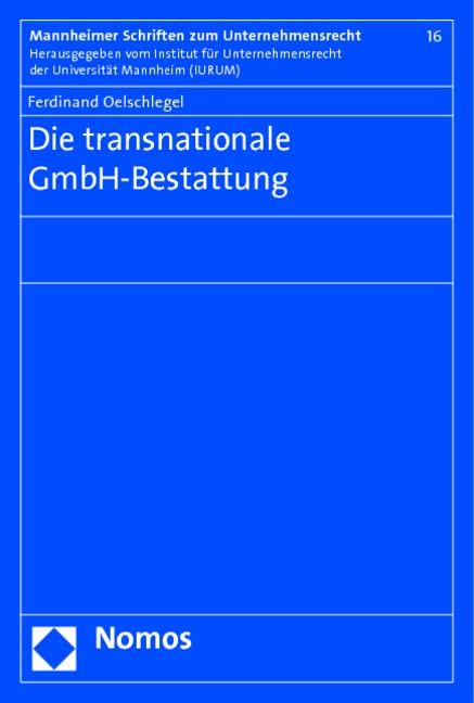 Die transnationale GmbH-Bestattung | Oelschlegel, 2010 | Buch (Cover)