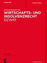 Deutsche Zeitschrift für Wirtschafts- und Insolvenzrecht - DZWiR | 27. Jahrgang (Cover)