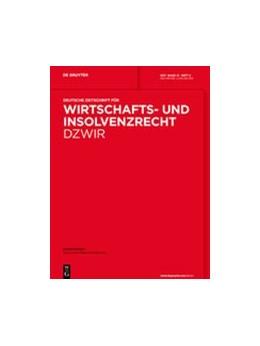 Abbildung von Deutsche Zeitschrift für Wirtschafts- und Insolvenzrecht - DZWiR   30. Jahrgang   2020