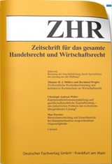 Zeitschrift für das gesamte Handelsrecht und Wirtschaftsrecht - ZHR (Cover)