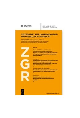 Abbildung von Zeitschrift für Unternehmens- und Gesellschaftsrecht • ZGR | 49. Jahrgang | 2020