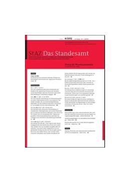 Abbildung von StAZ • Das Standesamt   72. Jahrgang   2019   Zeitschrift für Standesamtswes...