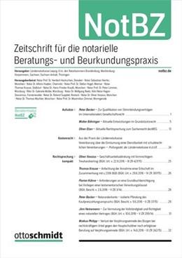 Abbildung von Zeitschrift für die notarielle Beratungs- und Beurkundungspraxis • NotBZ | 1. Auflage | 2021 | beck-shop.de