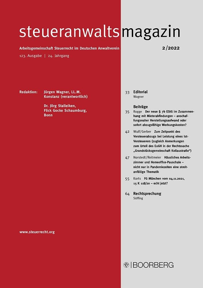 Steueranwaltsmagazin | 20. Jahrgang (Cover)