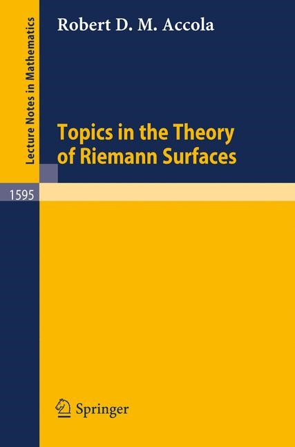 Topics in the Theory of Riemann Surfaces | Accola, 1994 | Buch (Cover)