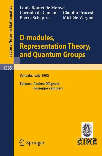 D-modules, Representation Theory, and Quantum Groups | Boutet de Monvel / Zampieri / D'Agnolo, 1993 | Buch (Cover)