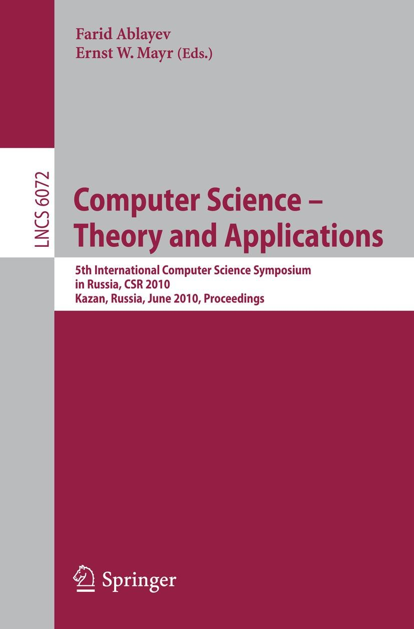 Computer Science -- Theory and Applications | Ablaev / Mayr, 2010 | Buch (Cover)