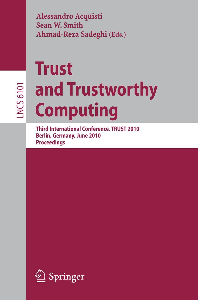 Trust and Trustworthy Computing | Acquisti / Smith / Sadeghi, 2010 | Buch (Cover)