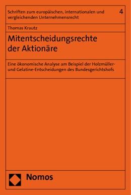 Abbildung von Krautz | Mitentscheidungsrechte der Aktionäre | 2011 | Eine ökonomische Analyse am Be... | 4