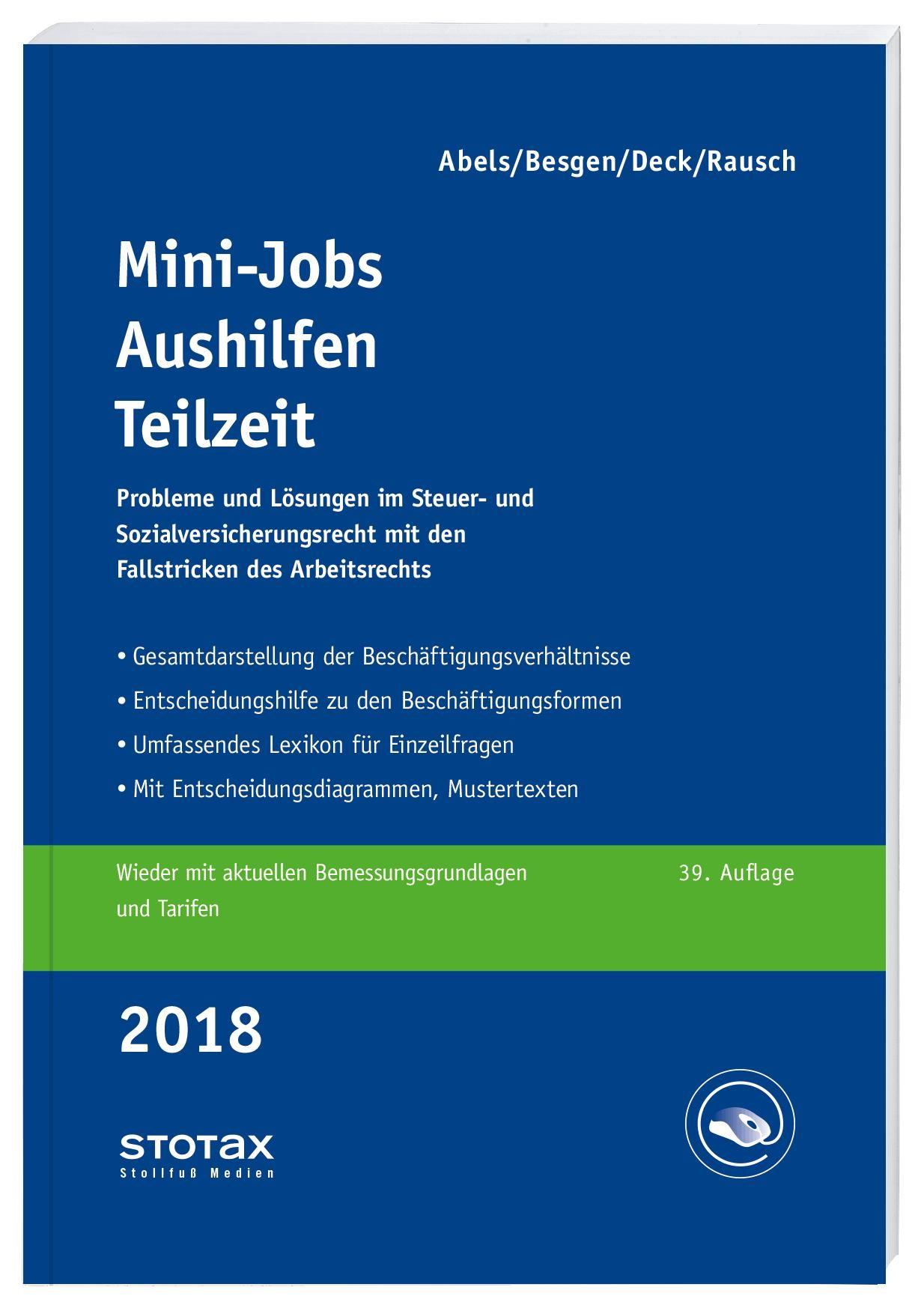 Mini-Jobs, Aushilfen, Teilzeit 2018 • Online | Abels / Besgen / Deck / Rausch, 2016 (Cover)