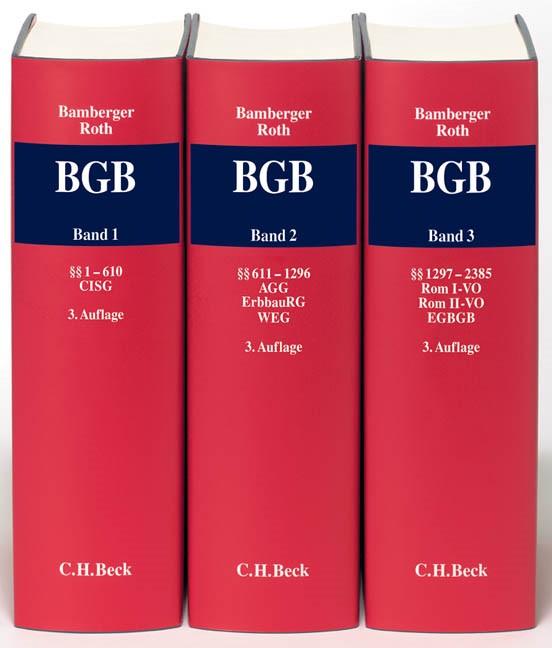 Kommentar zum Bürgerlichen Gesetzbuch: BGB   Bamberger / Roth   3. Auflage, 2012   Buch (Cover)