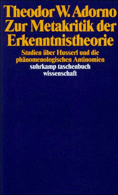 Abbildung von Adorno / Tiedemann | Zur Metakritik der Erkenntnistheorie | 1990