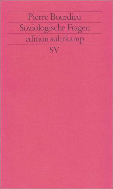 Soziologische Fragen   Bourdieu, 1993   Buch (Cover)