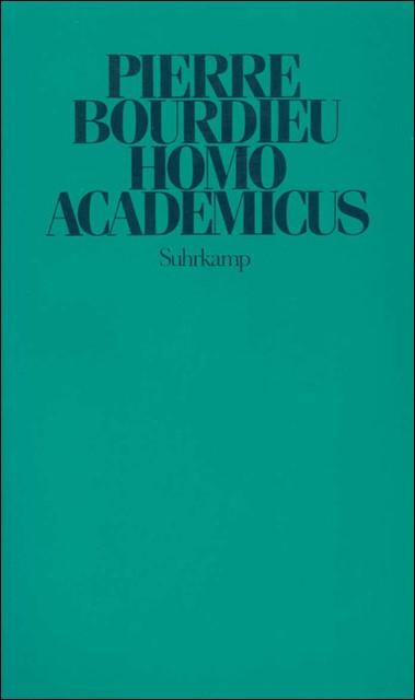 Homo academicus | Bourdieu, 1988 | Buch (Cover)