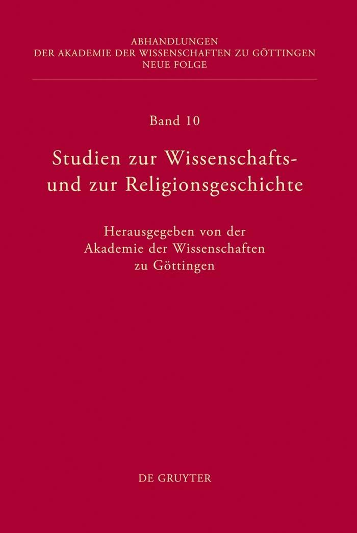 Abbildung von Studien zur Wissenschafts- und zur Religionsgeschichte | 2011