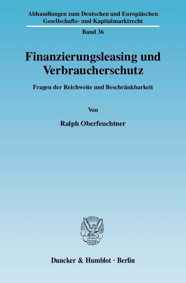 Finanzierungsleasing und Verbraucherschutz | Oberfeuchtner, 2010 | Buch (Cover)
