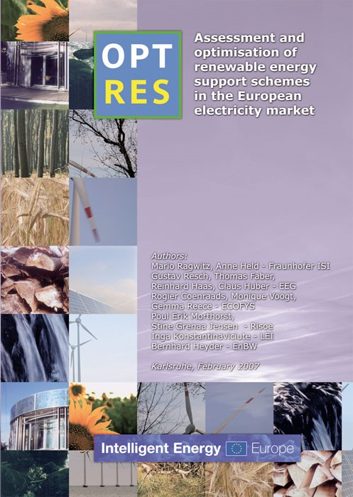 OPTRES. Assessment and optimisation of renewable energy support schemes in the European electricity market | / Ragwitz, 2007 | Buch (Cover)