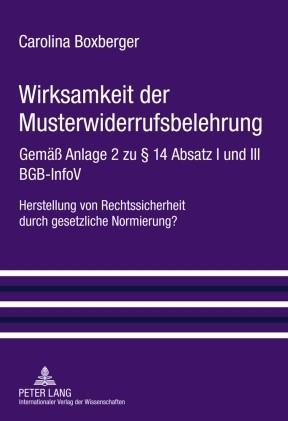 Wirksamkeit der Musterwiderrufsbelehrung   Boxberger, 2010   Buch (Cover)