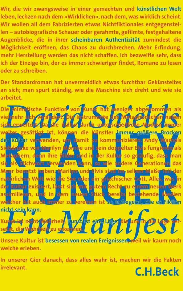 Reality Hunger | Shields, David, 2011 | Buch (Cover)