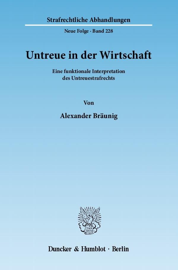 Abbildung von Bräunig | Untreue in der Wirtschaft | 2011