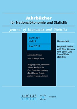 Abbildung von Malchin / Voshage / Wagner | Empirical Studies with New German Firm Level Data from Official Statistics | 2011 | Themenheft. Heft 3/Bd. 231 (20... | 231
