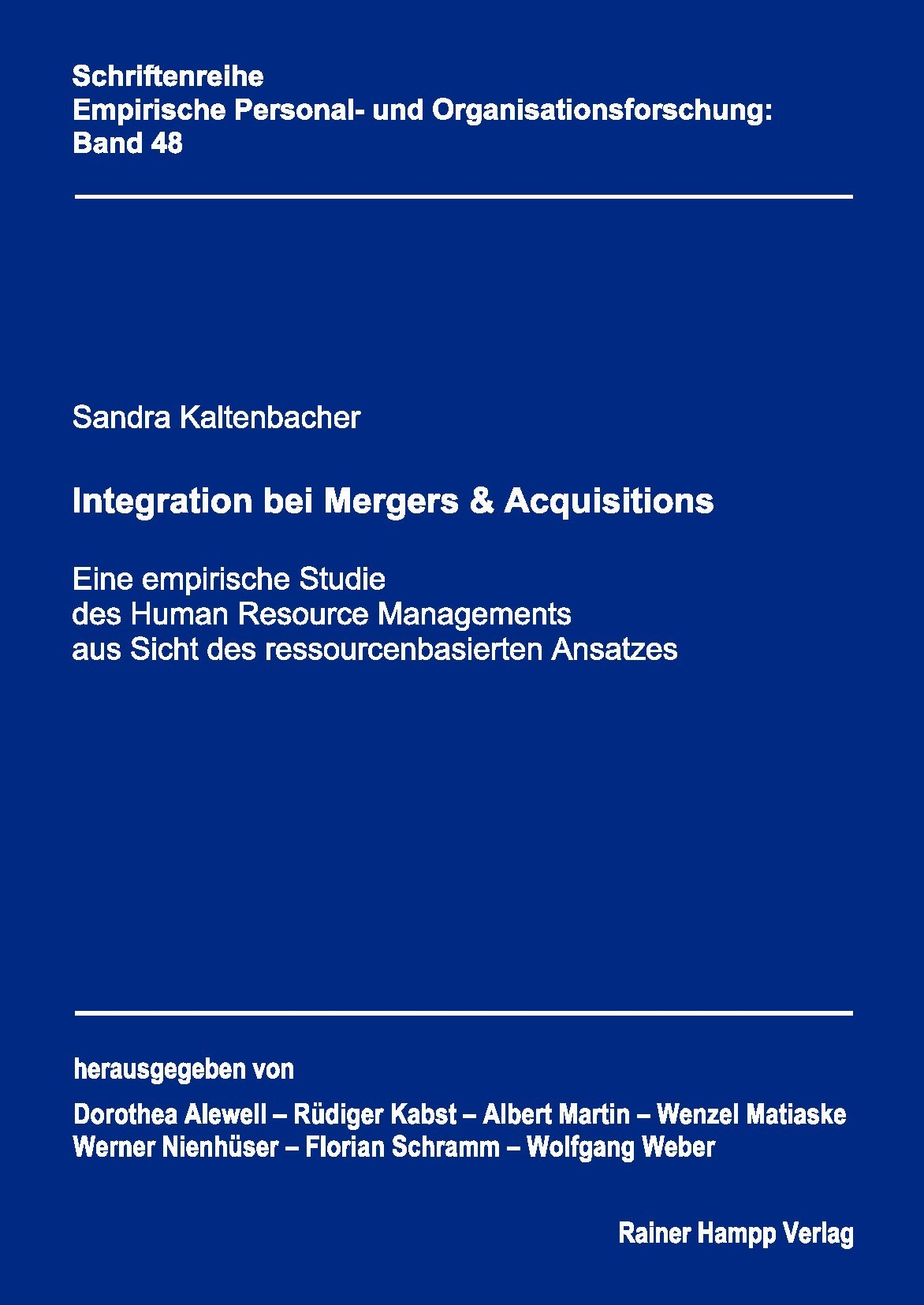 Integration bei Mergers & Acquisitions | Kaltenbacher, 2011 | Buch (Cover)