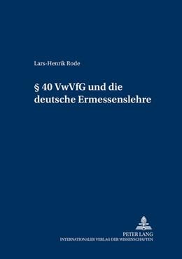 Abbildung von Rode | § 40 VwVfG und die deutsche Ermessenslehre | 2003