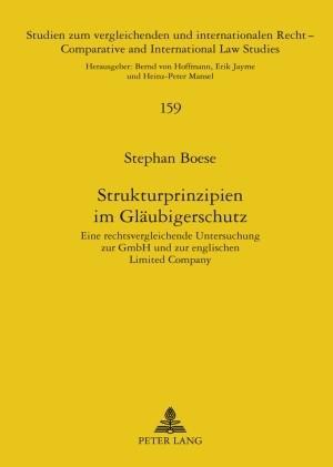 Abbildung von Boese   Strukturprinzipien im Gläubigerschutz   2009